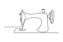 Sewing Machine In Continuous Line Art Drawing Style. Old Style Sewing-machine Minimalist Black Linear Sketch Isolated On White Background. Vector Illustration