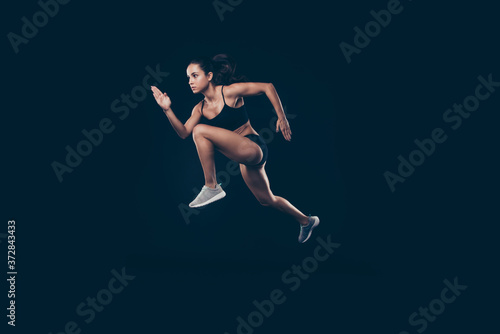 Canvas Print Full length profile photo short sport suit lady sprint run jogger inspired to wi