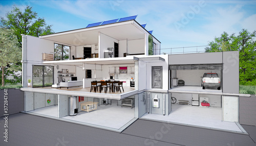 Projet de construction et vue en coupe de l'intérieur d'une belle maison moderne Fototapet