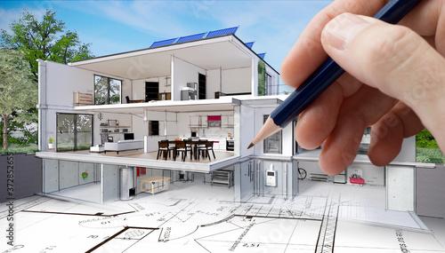 Projet de construction et vue en coupe de l'intérieur d'une belle maison moderne d'architecte avec cave sous-sol étage et garage avec panneaux solaires #372852655