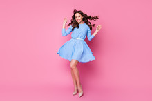 Full Length Body Size View Of Her She Nice-looking Attractive Lovely Pretty Stunning Cheerful Wavy-haired Lady Posing Air Blowing Mini Skirt Good Mood Isolated Over Pink Pastel Color Background