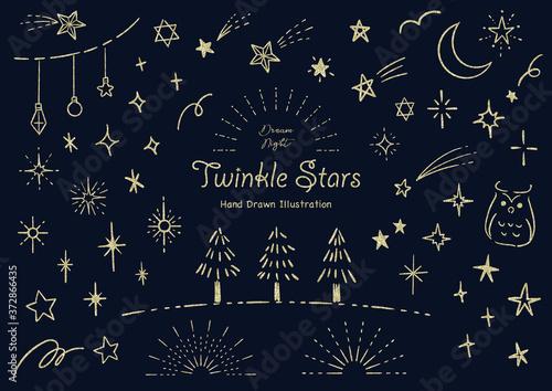 おしゃれな星の手描きイラストセット グリッター