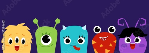Cute cartoon baby monsters - flat banner on dark purple background Canvas Print