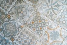 Retro Old Vintage Floor Tiles. Portuguese House Spanish Marocain Style Interior Hydraulic Ceramic Mosaic Tiles Flooring. Stylish Minimalist Home Floor
