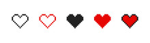 Pixel Heart Set Ison In Retro Style. Vintage Love Symbol, 8 Bit Vector Illustration For Computer Game