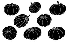 Pumpkin Silhouettes Set Vector Illustration Isolated On White Background EPS10.