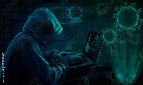 Fotomural hooded hacker covid19 coronavirus phishing attack scam