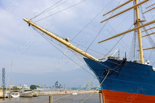 Obraz na plátně Boat in the harbor of the mainmast of in the port in the seashore