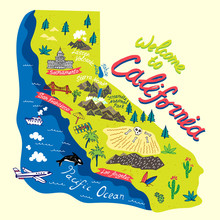 Illustrated Map Of  California, USA. Travel And Attractions.