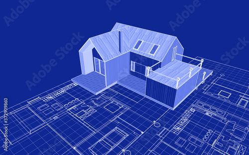house plan facades sketch 3d illustration Wallpaper Mural