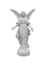 Beautiful Angel Statue Isolated On White Background.