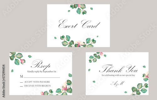 Watercolor hand painted nature wedding celebration three cards set with green eu Canvas Print
