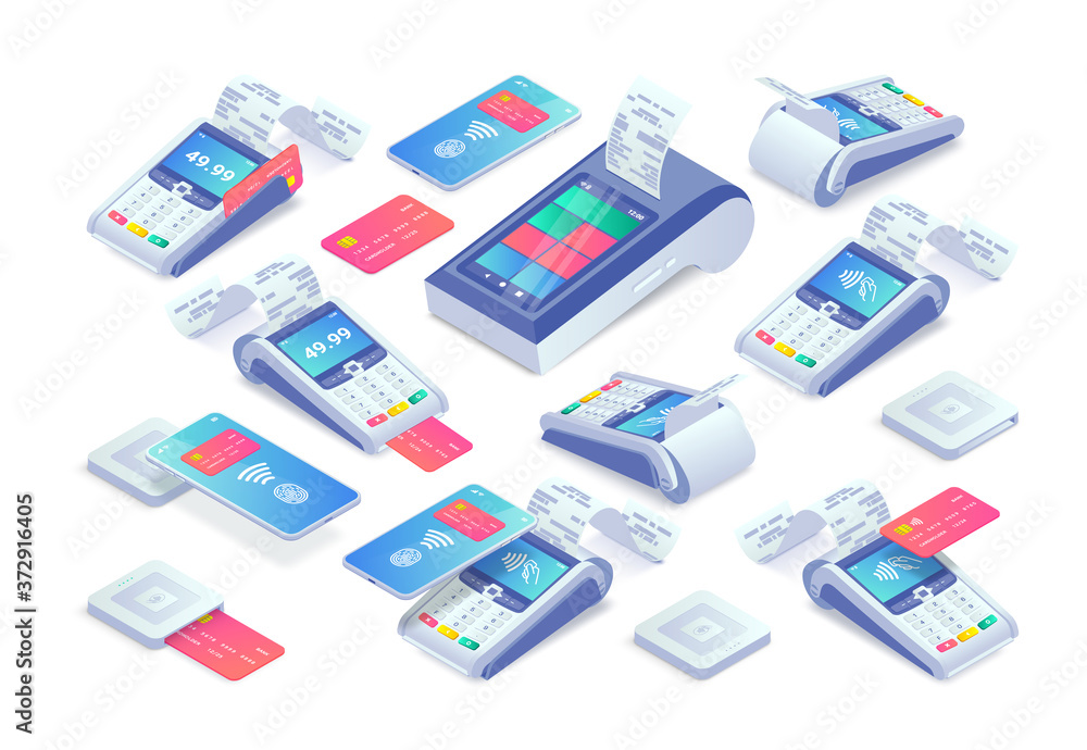 Fototapeta Contactless payments isometric set. 3d Cashless payment machine, smartphone, credit card, smart terminal with online cash desk, EMV chip card square reader. Mobile NFC payments vector collection