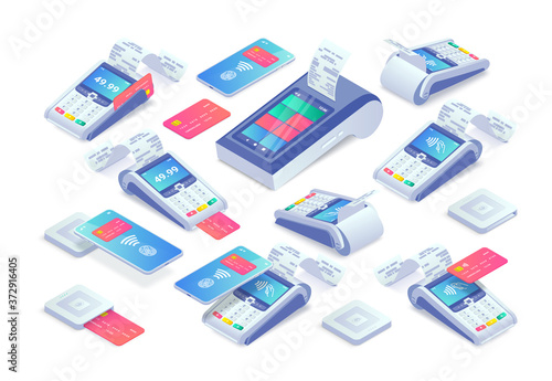 Photo Contactless payments isometric set