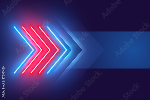 arrow style neon light effect background design Canvas