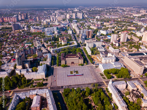 View from drone of residential areas and center of Voronezh city with Lenin Squa Fototapet