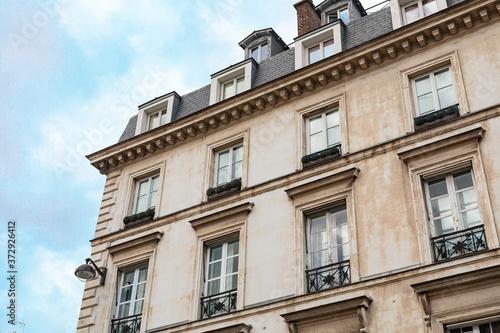 Fototapeta Traditional architecture of residential buildings. Paris obraz