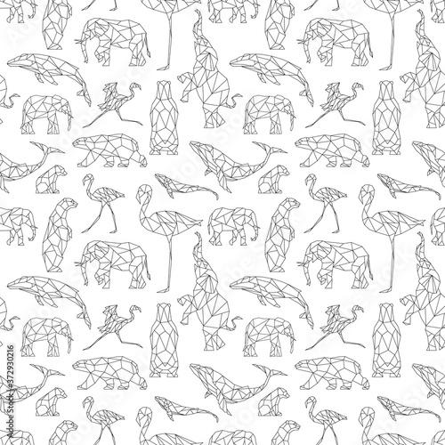 Obraz na plátně Seamless pattern with polygon animals