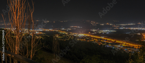 Fotografie, Obraz Aerail night view of Hula Valley with town of Rosh Pina and many agricultural settlements as seen from Mitzpe Hayamim hotel, located in Upper Galilee of Northern Israel, Israel