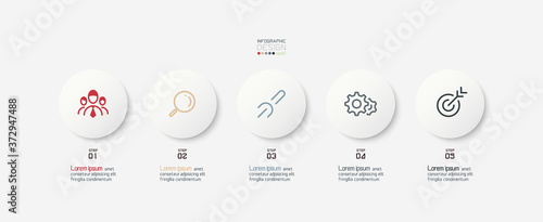 Foto Five circle vector design can use for division of work duties of company and business