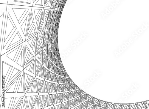 surface design curved shape 3d graphics Fototapet