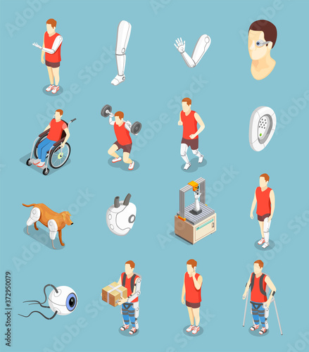 Photo Bionics Technology Isometric Icons