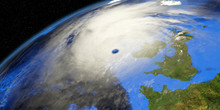 Storm Ellen Over Ireland Shown From Space. Elements Of This 3d Illustration Are Furnished By NASA.