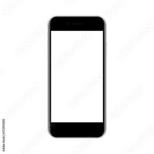 Fotografia, Obraz Modern black smartphone with blank screen isolated on white background, front view