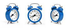 Three Blue Alarm Clock Over White