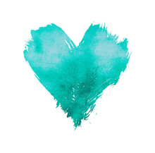 Teal Watercolor Painted Heart Shape On White