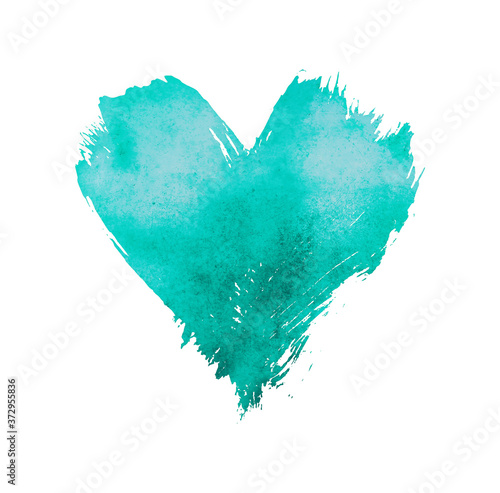 Photographie Teal watercolor painted heart shape on white