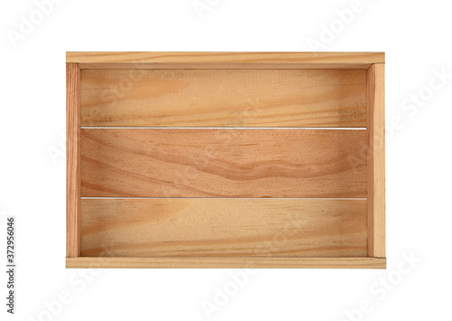 Empty brown wooden box isolated