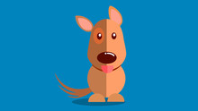 Smiling Dog With Tongue Sticking Out Vector Illustration With Blue Background. EPS10 Vector