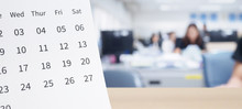 White Paper Desk Calendar On W...