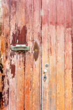 Vintage Red Worn Wood Door With A Mail Slot