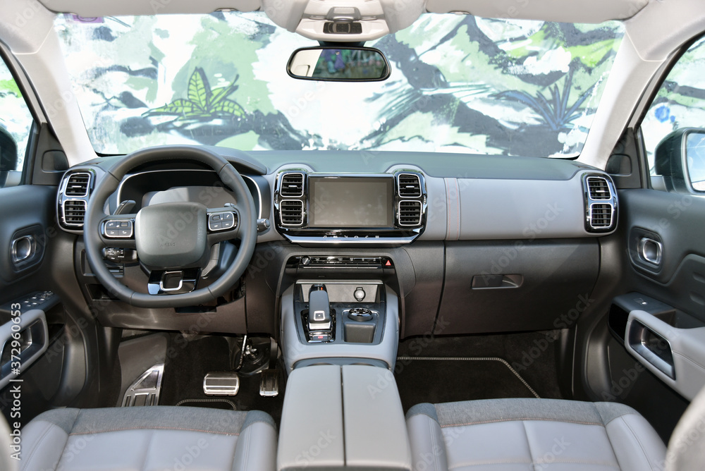 Fototapeta Dashboard of a modern SUV. Interior of a modern suv.