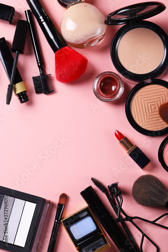 Cuadros en Lienzo assortment of cosmetics for makeup lipstick powder eye shadow
