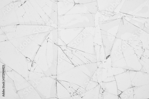 White cracked glass texture background Wallpaper Mural