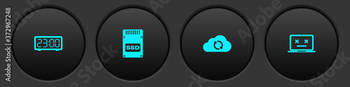 Valokuva Set Digital alarm clock, SSD card, Cloud sync refresh and Dead laptop icon