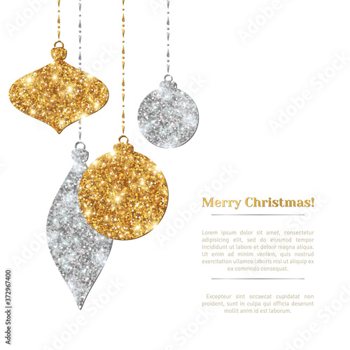 Merry Christmas Background with Silver and Gold Hanging Baubles Poster Mural XXL