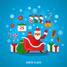 Santa Claus On Sleigh. Vector Illustration. Merry Christmas Card In Flat Style. Creative New Year Icon Concept. Happy Xmas Greeting Character.