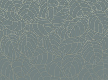 Outline Pattern With Gold Leaves On Neutral Teal Background