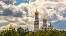 Kremlin Churches And  Ivan  Great Bell Tower Under  Cloudy Sky Of Moscow