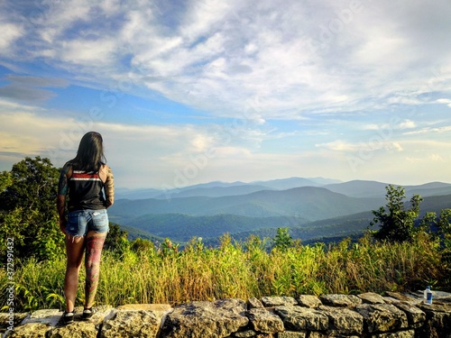 Fototapeta girl on a mountain