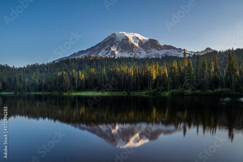 Fototapeta July early morning on the Reflection Lakes in Mount Rainier National Park obraz na płótnie