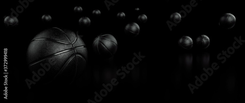 Basketball Ball - Isolated On The Black Background - 3D Illustration Fototapet