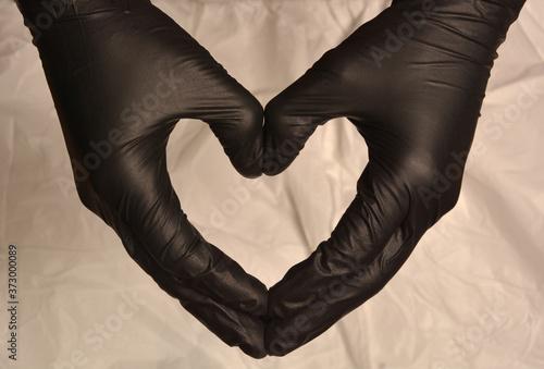confinamiento, guantes, protección, virus, covid, corazón manos, nitrilio, aisla Canvas Print