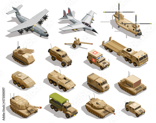 Fotomural Military Transport Isometric Icons Set