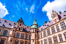 Internal Courtyard Of The Castle Of Kronborg, In The Town Of Helsingor, Denmark, Built In 15th Century. UNESCO World Heritage Site And Immortalized As Elsinore In William Shakespeare's Hamlet.