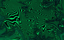 Black And Green Fluid Wavy Digital Abstract Art, Liquified Effect Background.